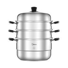 美的(Midea) 蒸锅 304食品用不锈钢三层组合蒸笼 燃磁通用 28CM口径 ZG28G05