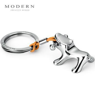 德國MODERN不銹鋼小狗鑰匙扣創意汽車鑰匙圈純手工鏡面拋光匠心