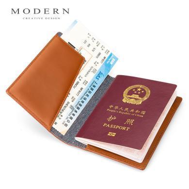 德国MODERN护照保护套真皮 头层皮护照夹 多功能证件包机票护照包