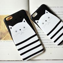 冇心条纹白猫iphone6/6P手机壳 可爱文艺?;ぬ?支架礼品