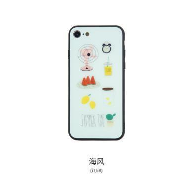 冇心可愛少女蘋果7保護套8p文藝女生iPhoneX玻璃全包7plus手機創意小清新卡通日韓有心情侶個性時尚手機殼