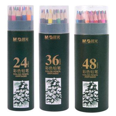 晨光24色彩色鉛筆12/18/24/36/48色彩鉛填色繪畫學生鉛筆桶裝