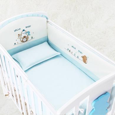 婴儿床床品五套件纯棉可拆洗宝宝?#21442;?#23156;儿床上用品五件套防撞床品