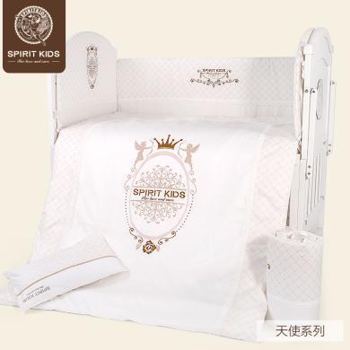SpiritKids嬰兒床上用品套件嬰兒床品床圍新生兒床品四季寶寶床圍八件套裝