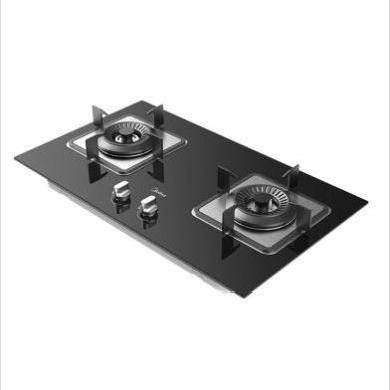 美的(Midea)JZT-Q62 天然氣燃氣灶 一級能效4.5大火力燃氣 灶嵌入式 兩用燃氣 爐具 灶具 鋼化玻璃 雙灶臺-天然氣-760*445*165