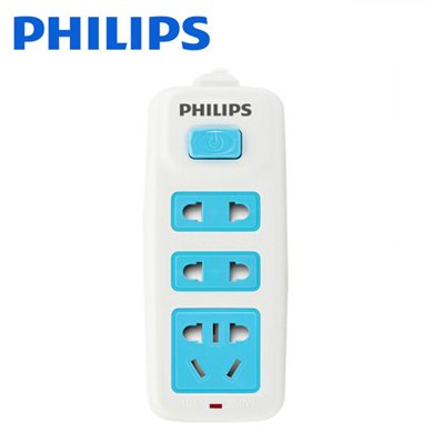 飛利浦(PHILIPS)插排插線板三孔位全長1.8米旅游便攜接線板/拖線板 新國標兒童安全插座SPS2232A