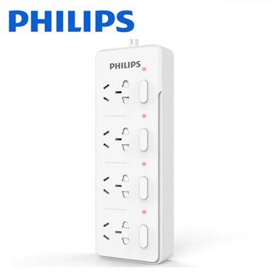 飛利浦(PHILIPS)新國標4位1.8米插座 兒童保護門/獨立開關/指示燈 插排插線板/接線板/拖線板 SPS3421C/93
