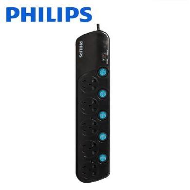 飛利浦(PHILIPS) 飛利浦接線板排插防雷過載保護插板抗電涌插排拖線板兒童保護 5位分控防雷SPS2252C    3米