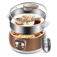 蒙得 多功能電火鍋 家用電煮鍋 304不銹鋼電蒸鍋 智能電熱鍋多用途 分體式設計HT-882