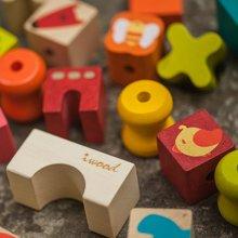 木玩世家爱木绳木物语积木绳木物语 木制动物串珠益智玩具穿绳玩具积木i3001
