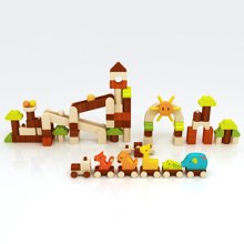 木玩世家爱木彩色系列乐园 动物乐园原创积木3-6周岁儿童益智积木玩具1-2周岁礼物i3005