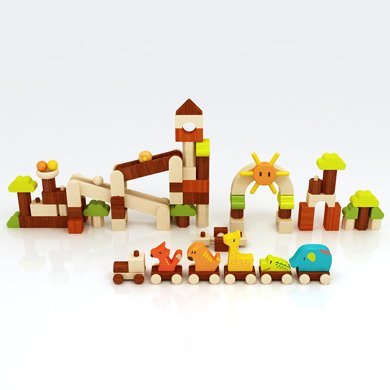 木玩世家愛木彩色系列樂園 動物樂園原創積木3-6周歲兒童益智積木玩具1-2周歲禮物i3005