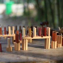木玩世家爱木多米诺 设计师原创木制儿童成人智力玩具机关多米诺骨牌益智积木i4010