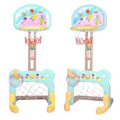 源樂堡 兒童可升降加固底座籃球架 可拆卸足球門二合一室內運動投籃玩具