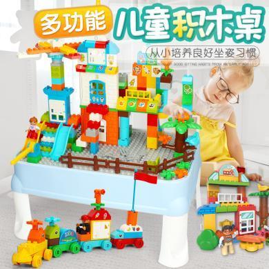 兒童多功能益智啟蒙立體DIY拼插拼圖樂高學習積木桌玩具YQ001