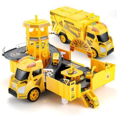 兒童益智早教玩具大號貨柜車玩具仿真合金小汽車套裝停車場男孩禮物AYL660-A212