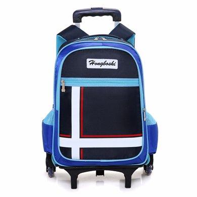 新款防水儿童书包小学生三轮六轮爬楼梯拉杆书包?#20449;?#29983;1-3-6年级HBS508