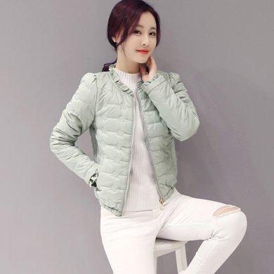綺娑 冬季新款修身顯瘦短款花邊領小棉衣棉襖羽絨棉服外套