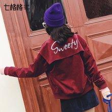 新品 七格格  棒球服外套女原宿短新款韩版宽松学生灯芯绒夹克bf潮