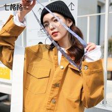新品 七格格 短款夹克春季装2018新款韩版百搭宽松bf长袖女生帅气学生港味外套