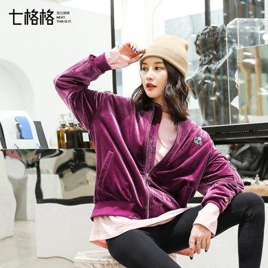 新品 七格格 棒球服女生2018春季裝新款韓版學生寬松bf原宿風絲絨刺繡外套秋潮