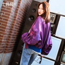 新品 七格格 棒球服女生2018春季装新款韩版原宿风长袖宽松百搭紫色港味短外套