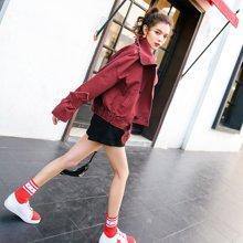 新品 七格格 红色外套女生2018春季装新款韩版百搭时尚港味显瘦休闲学生夹克潮