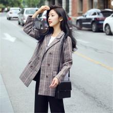 搭歌港味复古chic小西装薄外套秋冬新款韩版格子西服A0688