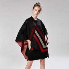 修允菲女士三道杠仿羊绒提花色织仿荧光色披肩加厚大码斗篷18029