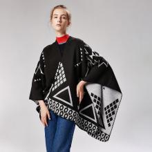 修允菲印第安风格女士开叉加长披肩仿羊绒时尚斗篷18027