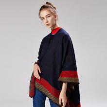 修允菲新款女士提花边框几何保暖披肩秋冬围巾加长加厚斗篷披风18037