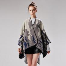 修允菲新式女士迷彩仿羊绒百搭提花加长披肩披风18012
