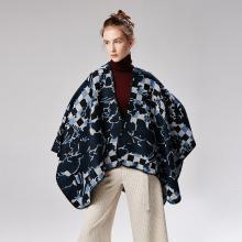 修允菲女士马赛克图案仿羊绒正反两用披肩可穿戴斗篷18021
