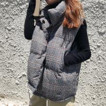 搭歌EAL899冬季新款棉马甲女复古韩版显瘦格纹立领棉服背心