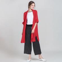 綺娑 秋冬裝新款開衫純色毛衣女中長款外套翻領蝙蝠袖毛衣歐美針織開衫
