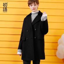 初語秋裝中長款呢子大衣繭型寬松時尚開衩毛呢外套女8731224004