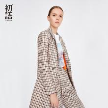 初語復古格子西服女2018秋裝新款休閑雙排扣中長款小西裝外套女8831402031
