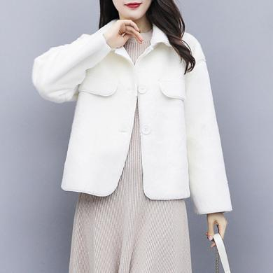 meyou 秋冬裝新款小個子毛絨外套女時尚短款寬松純色夾克