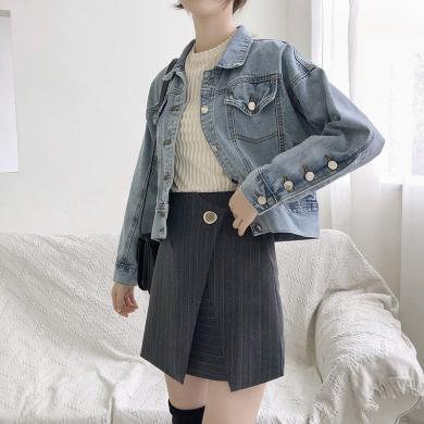 搭歌牛仔外套女裝2019春季韓版新款韓版短款翻領夾克GN600D