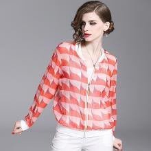 法米姿 2019夏季新款女装气质通勤风撞色几何印花图案开衫薄款雪纺小外套  59220