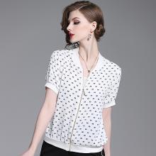 法米姿 外套女2019夏季新款女装气质时尚立领短袖字母印花开衫薄款棒球衫   59218