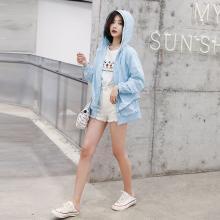熤笙靘 2019韩版夏季新款女短款薄外套长袖宽松纯色透气休闲上衣   Z5A2988288
