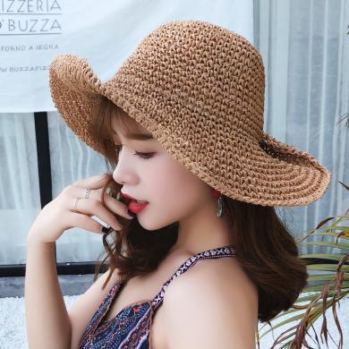 修允菲夏季女士草帽子可折疊紐扣半卷邊帽遮陽沙灘防曬帽大沿太陽帽KMZ160