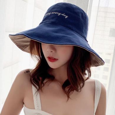 修允菲韓版新款刺繡字母漁夫帽女可折疊雙面戴笑臉遮陽帽防曬帽潮KMZ232