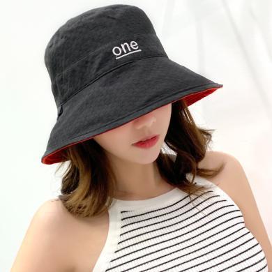修允菲秋冬防曬遮陽帽女雙面字母布帽可折疊太陽帽百搭雙色漁夫帽KMZ235