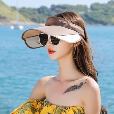 修允菲韓版百搭空頂帽子女兩用發夾帽子夏季出游防曬帽遮陽帽太陽帽KMZ185