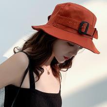 修允菲韓版新款漁夫帽街頭復古金屬扣百搭盆帽木耳邊防曬女遮陽帽KMZ221