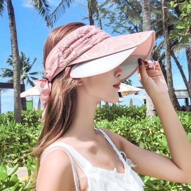 修允菲女夏季遮陽帽大沿帽防曬帽蕾絲蝴蝶結時尚百搭空頂帽KMZ186