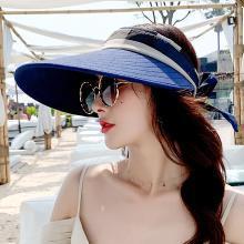 修允菲夏季帽子女韓版折疊空頂遮陽帽度假防曬沙灘帽百塔蝴蝶結太陽帽KMZ191