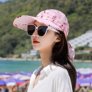 修允菲蝴蝶結防曬帽夏天防紫外線出游空頂帽時尚遮陽帽KMZ188